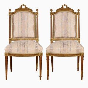 Antike französische Beistellstühle aus Holz, 2er Set