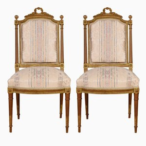 Antique French Wooden Side Chairs, Set of 2