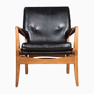 Danish Mahogany and Vinyl Lounge Chairs, 1950s, Set of 2