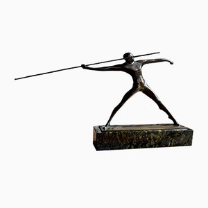 Art Deco Bronze Nude Spear Thrower Sculpture by Wilhelm Andreas, 1921