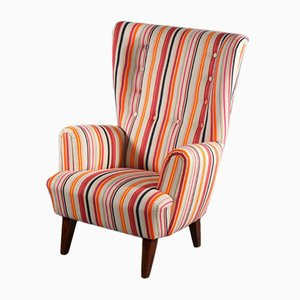 Mid-Century Italian Fabric Wingback Lounge Chair, 1950s
