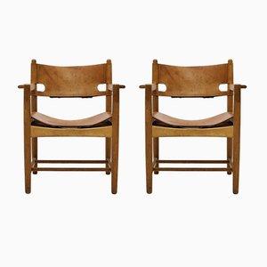 Butacas escandinavas modernas de roble y cuero de silla de montar de Børge Mogensen para Fredericia, años 60. Juego de 2