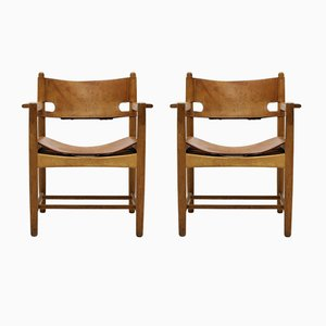 Scandinavian Modern Danish Saddle Leather & Oak Armchairs by Børge Mogensen for Fredericia, 1960s, Set of 2