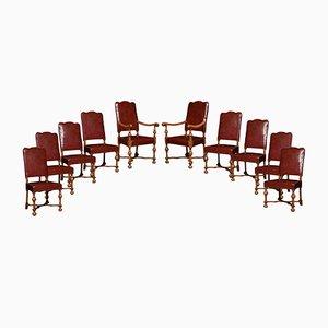 Chaises de Salon Antiques en Noyer, Set de 10