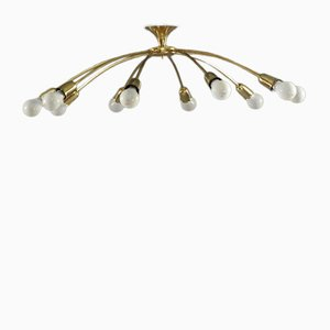 Brass Spider Chandelier by J. T. Kalmar, 1950s