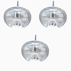 Wave Ceiling Lamps by Koch & Lowy for Peill & Putzler, 1970s, Set of 3