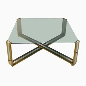 Vintage Italian Brass & Crystal Regency Coffee Table by Romeo Rega, 1970s