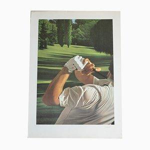 Golf Lithografie von Gérard Schlosser, 1980er