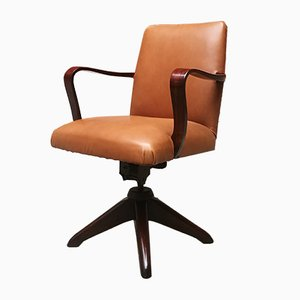 Italian Leather and Palisander Swivel Chair, 1960s