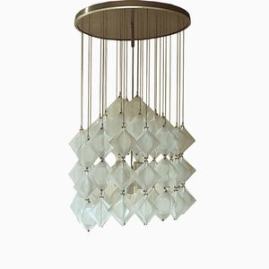 Italian Aluminum and Opaline Glass Ceiling Lamp from Zeroquattro, 1969