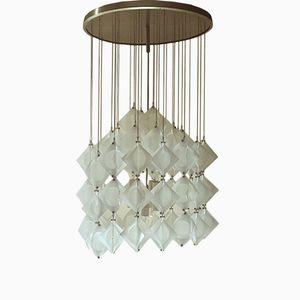 Italienische Deckenlampe aus Aluminium & Opalglas von Zeroquattro, 1969