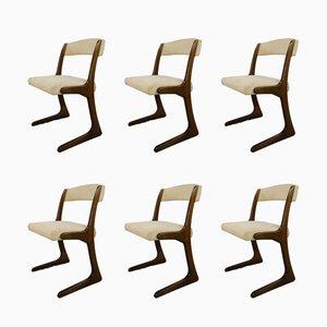 Französische Esszimmerstühle aus Holz von Baumann, 1960er, 6er Set