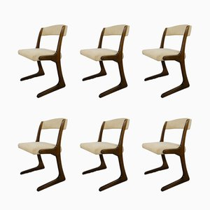 French Wooden Dining Chairs from Baumann, 1960s, Set of 6