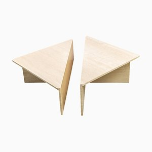Tavolini da caffè triangolari modulari in travertino, anni '70, set di 2