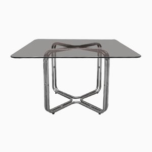 Metal and Smoked Glass Dining Table, 1970s