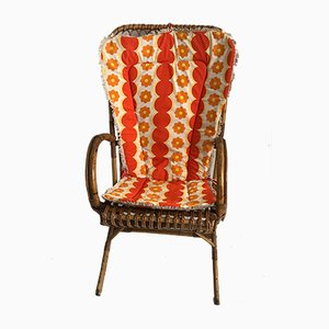 Mid-Century French Rattan Lounge Chair, 1960s