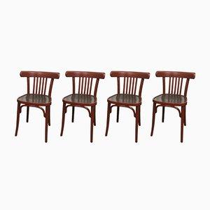 Mid-Century Esszimmerstühle aus Holz, 4er Set