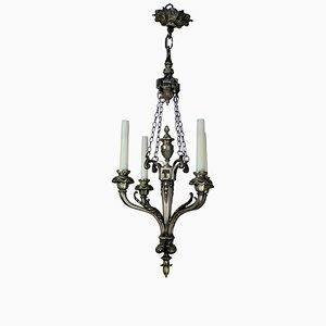 Lámpara de araña francesa antigua de plata con cuatro brazos, década de 1890