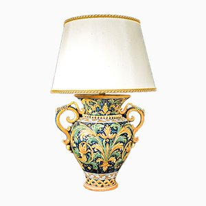 Lampada da tavolo Caltagirone Mid-Century in ceramica e cotone, Italia, anni '40