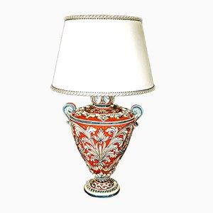 Lámpara de mesa italiana Mid-Century de cerámica de Caltagirona y algodón, años 40