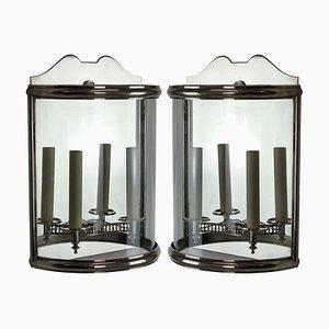 Lanternes Murales Demi-Lune Argentées Vintage, 1950s, Set de 2