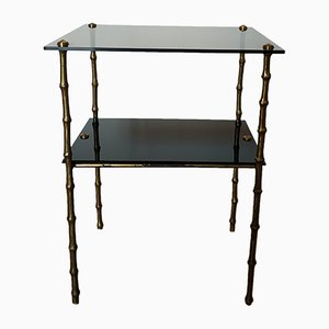 Mid-Century Bronze Bamboo Side Table, 1950s