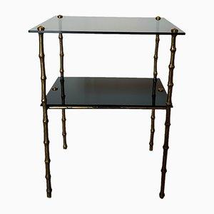 Table d'Appoint Mid-Century en Bambou et Bronze, 1950s