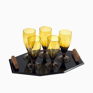 Set with Tray and 5 Glasses, 1930s