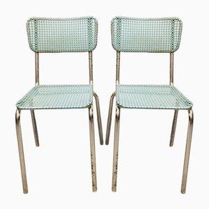 Französische Esszimmerstühle aus Metall und Kunststoff, 1950er, 2er Set