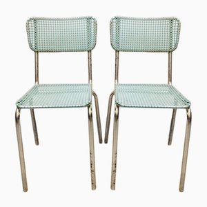 French Metal and Plastic Dining Chairs, 1950s, Set of 2