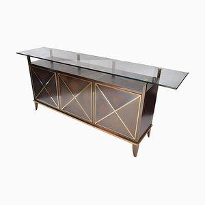 Brass & Glass Sideboard by Belgo Chrome DeWulf, 1980s
