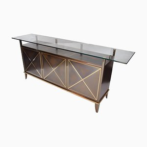 Sideboard aus Messing & Glas von Belgo Chrome DeWulf, 1980er