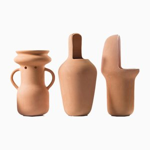 Big Terracotta Gardenias Vases by Jaime Hayon, Set of 3