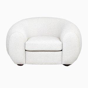 Fauteuil Mid-Century Tapissé Blanc