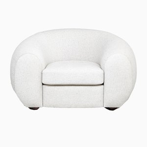 Mid-Century Modern Style White Upholstered Armchair