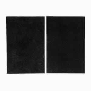 Großes schwarzes Gemälde von Enrico Dellatorre, 2er Set