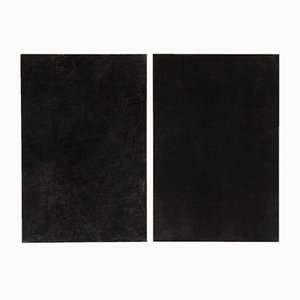 Large Black Paintings by Enrico Dellatorre, Set of 2