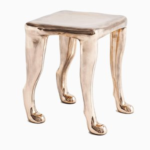 Khamon Bronze Sculpture Stool by Adolfo Abejon