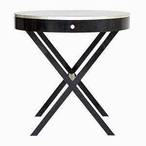 Round Ebony and Silver Side Table