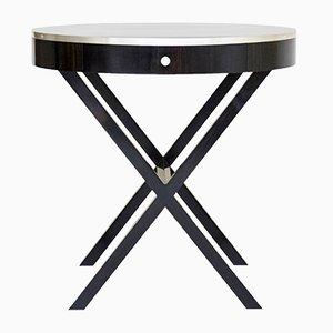 Tavolino rotondo in ebano e argento