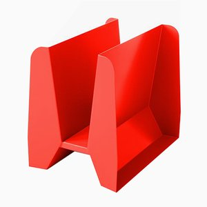 Adler Red Metal Magazine Rack by Adolfo Abejon