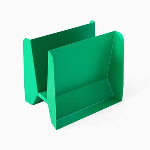 Sculptural Green Metal Adler Magazine Rack by Adolfo Abejon