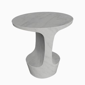 Atlas White Carrara Marble Side Table by Adolfo Abejon