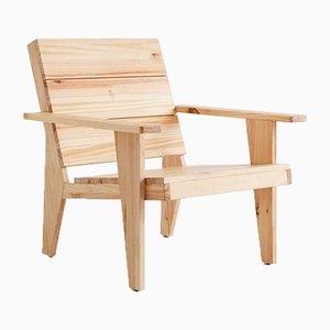 Formalistischer Woody Armlehnstuhl aus Kiefernholz von Adolfo Abejon