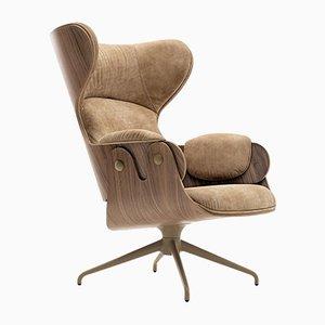 Stuhl aus Schichtholz, Nussholz & Leder von Jaime Hayon