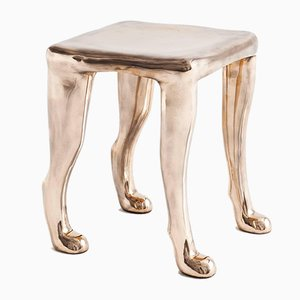 Khamon Bronze Sculptural Stool by Adolfo Abejon