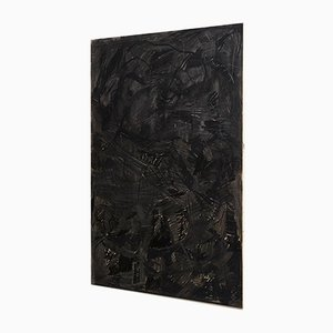 Large Abstract Black Mix-Media Painting by Adrian