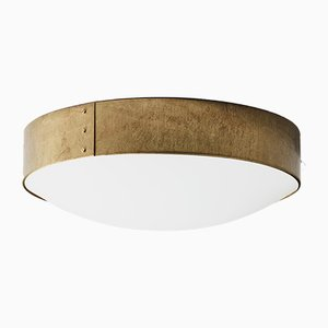 Small Raw Brass Svep Ceiling Lamp from Konsthantverk Tyringe