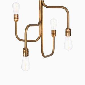 Kleine Strapatz Deckenlampe aus rohem Messing von Sabina Grubbeson für Konsthantverk Tyringe