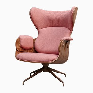Walnut Plywood & Pink Upholstery Lounge Chair by Jaime Hayon